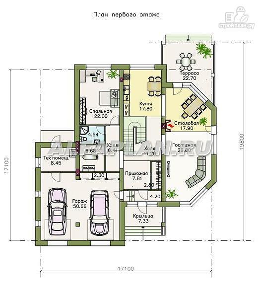 """Фото 2: проект """"Рубин"""" - современный коттедж c оригинальной гостиной"""