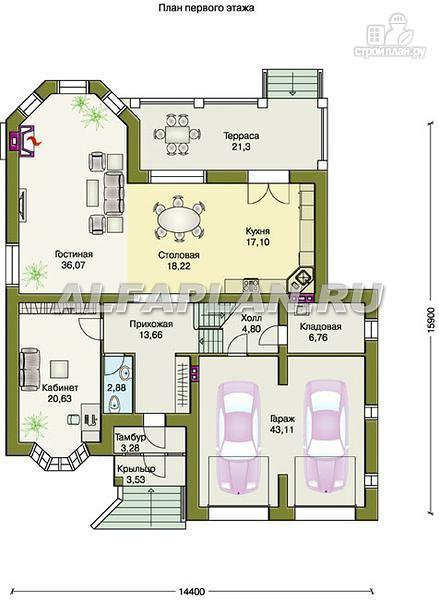"""Фото 3: проект """"Эвридика""""- красивый загородный дом с гаражом и цокольным этажом"""