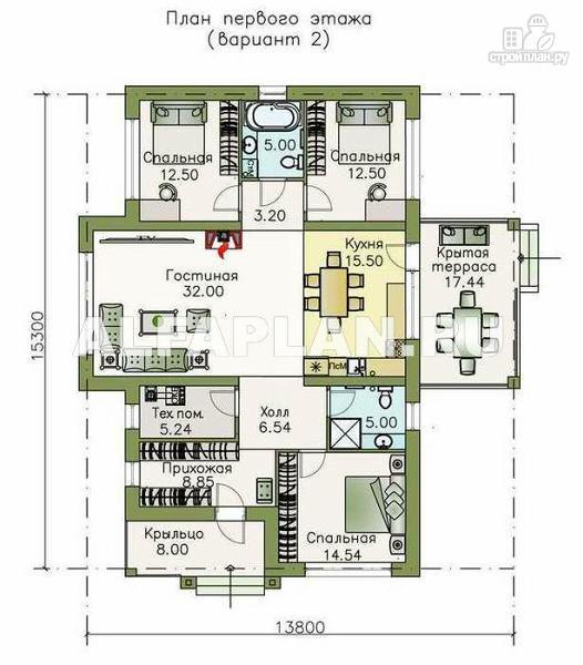 Фото 3: проект современный одноэтажный коттедж с террасой