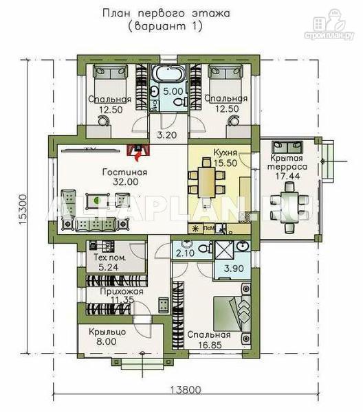 Фото 2: проект современный одноэтажный коттедж с террасой