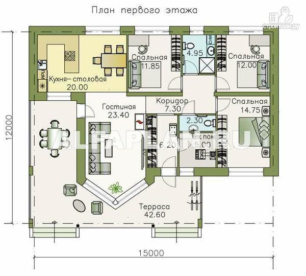 """Фото 2: проект """"Яркий мир"""" - одноэтажный коттедж с высокой гостиной и просторной террасой"""