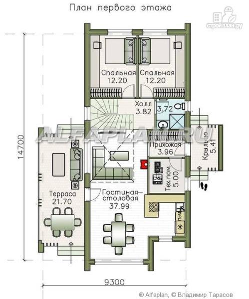 """Фото 2: проект """"Омега"""" - двухэтажный каркасный дом с пятью спальнями"""