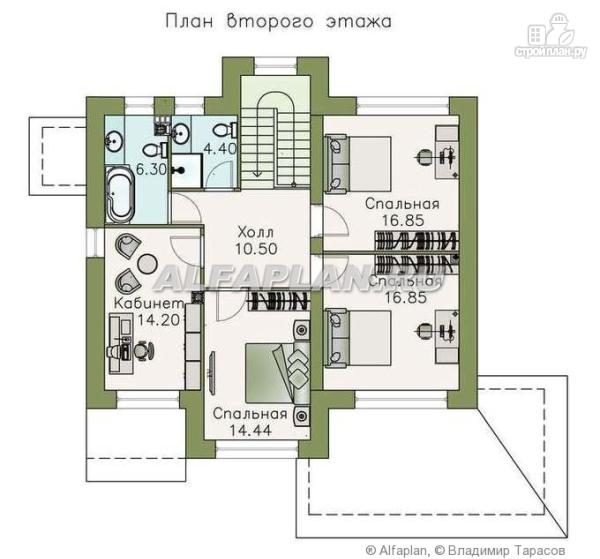 """Фото 3: проект """"Светлая полоса"""" - современный двухэтажный коттедж с верандой"""