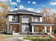"""Проект """"Светлая полоса"""" - современный двухэтажный коттедж с верандой"""