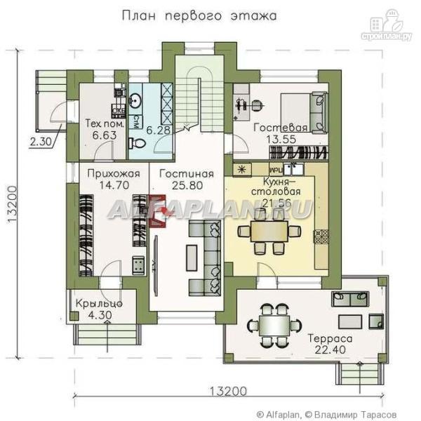"""Фото 2: проект """"Светлая полоса"""" - современный двухэтажный коттедж с верандой"""