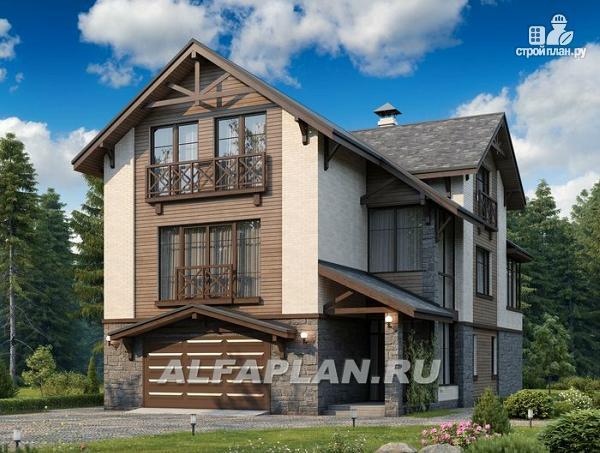 Фото: проект компактный дом с большим гаражом, верандой и зимним садом