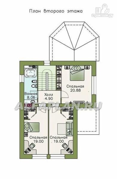 Фото 4: проект компактный дом с большим гаражом, верандой и зимним садом