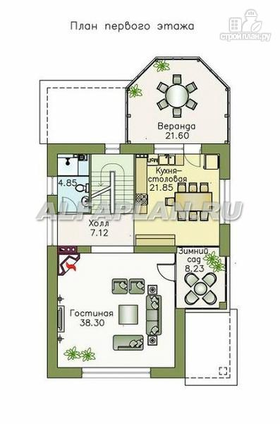 Фото 3: проект компактный дом с большим гаражом, верандой и зимним садом