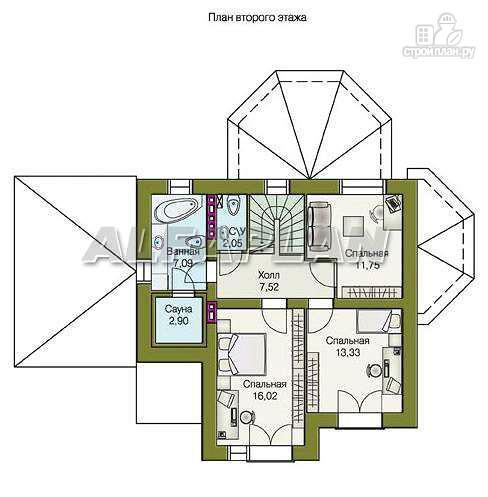 """Фото 8: проект """"Гармония"""" - двухэтажный коттедж с навесом для машины и террасой"""