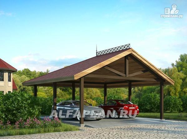 Фото: проект навес для двух автомобилей