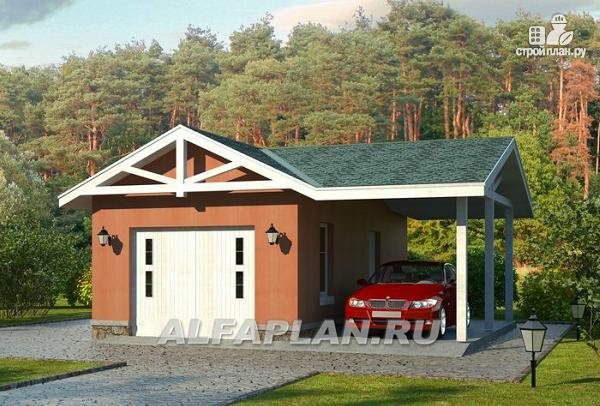Фото: проект гараж с навесом для небольшого участка