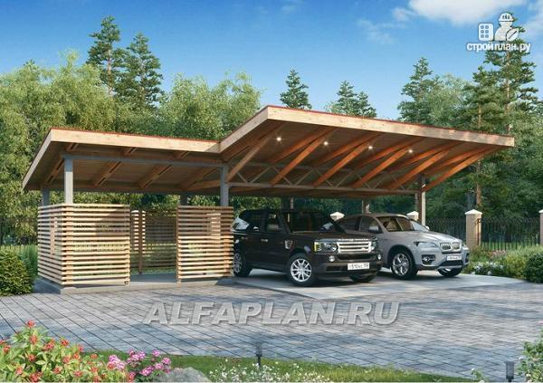 Фото: проект гараж-навес на два автомобиля