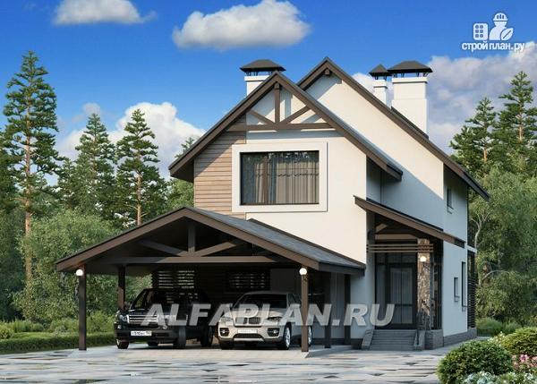 """Фото: проект """"Гольфстрим"""" - дом с навесом для 2-х машин для узкого участка"""