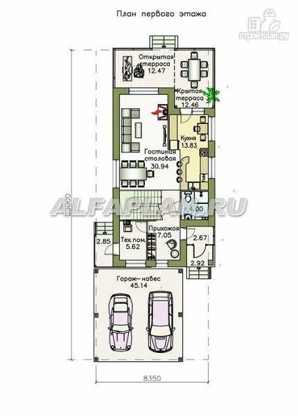 """Фото 2: проект """"Гольфстрим"""" - дом с навесом для 2-х машин для узкого участка"""