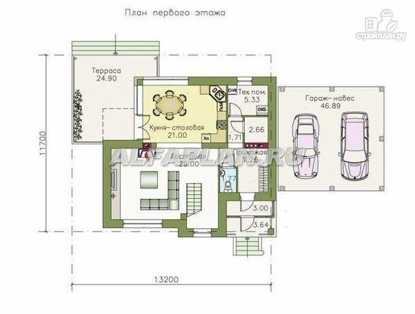 """Фото 2: проект """"Дипломат Плюс"""" - загородный дом с бильярдной и гаражом-навесом"""
