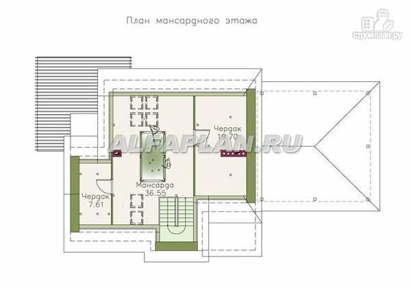"""Фото 4: проект """"Дипломат Плюс"""" - загородный дом с бильярдной и гаражом-навесом"""