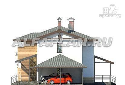 Фото 7: проект современный загородный дом с навесом для машины