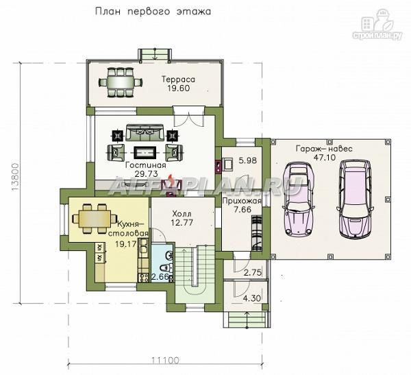 Фото 2: проект современный загородный дом с навесом для машины