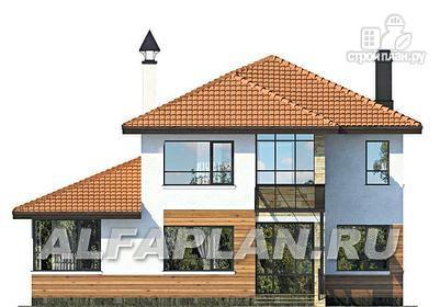Фото 4: проект современный дом с высоким стропильным потолком в гостиной и с большой террасой