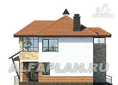 Фото 7: проект современный дом с высоким стропильным потолком в гостиной и с большой террасой