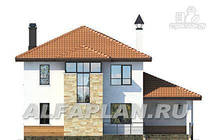 Фото 6: проект современный дом с высоким стропильным потолком в гостиной и с большой террасой