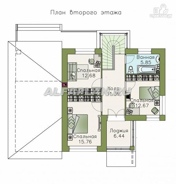 Фото 3: проект современный дом с высоким стропильным потолком в гостиной и с большой террасой