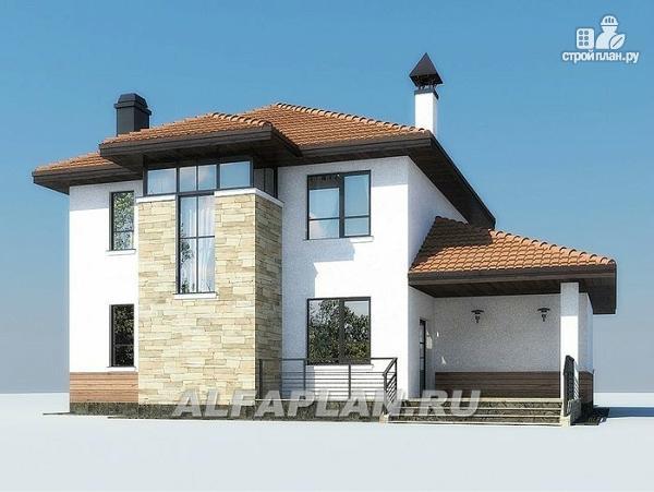 Фото 8: проект современный дом с высоким стропильным потолком в гостиной и с большой террасой