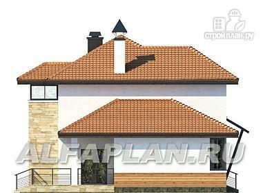 Фото 5: проект современный дом с высоким стропильным потолком в гостиной и с большой террасой