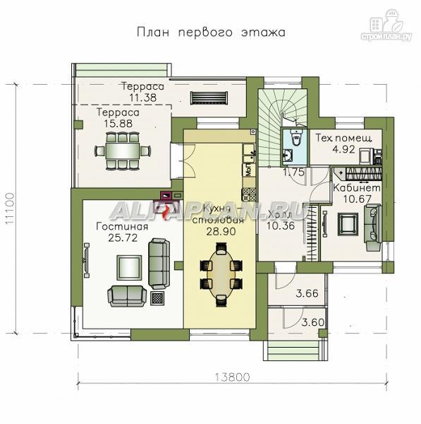 Фото 2: проект современный дом с высоким стропильным потолком в гостиной и с большой террасой