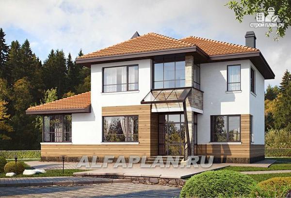 Фото: проект современный дом с высоким стропильным потолком в гостиной и с большой террасой