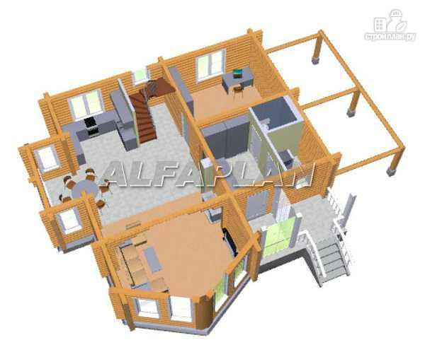 Фото 3: проект «Л-Хаус» - деревянный дом с навесом для машины