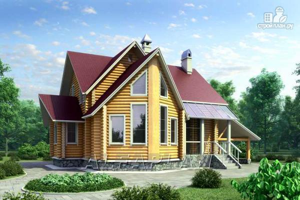 Фото: проект «Л-Хаус» - деревянный дом с навесом для машины