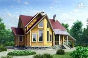 Фото: «Л-Хаус» - деревянный дом с навесом для машины