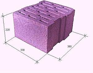 Керамзитобетонный блок 38*22*33 рядовой