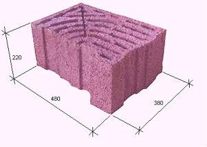 Керамзитобетонный блок 38*22*48 угловой