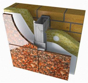 Вентилируемые фасады из окр. стали для облицовки натуральным камнем