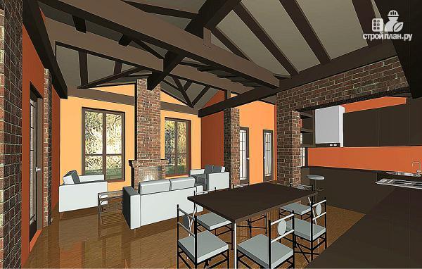 Фото 3: проект одноэтажный узкий дом с двумя спальнями и верандой