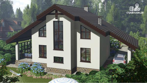 Фото 4: проект компактный дом с четырьмя спальнями, верхним светом, верандой и навесом для авто