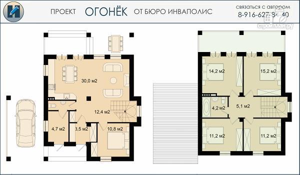 Фото 2: проект проект дома 10 на 12 с пятью спальнями, верандой, балконом и навесом для авто