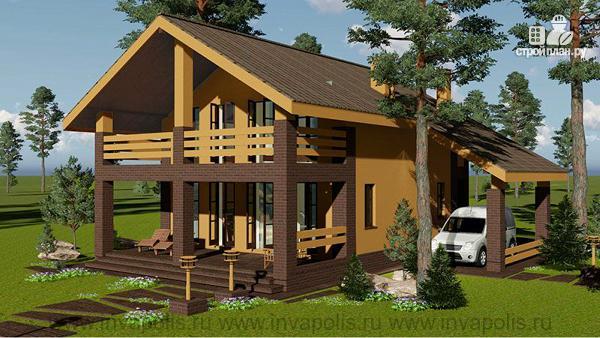 Фото 3: проект проект дома 10 на 12 с пятью спальнями, верандой, балконом и навесом для авто