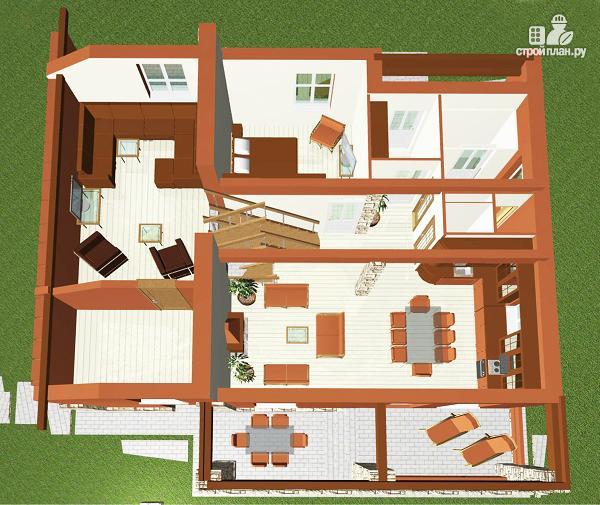 Фото 5: проект дом с пятью спальнями и двумя гостиными, верандой, сауной и навесом