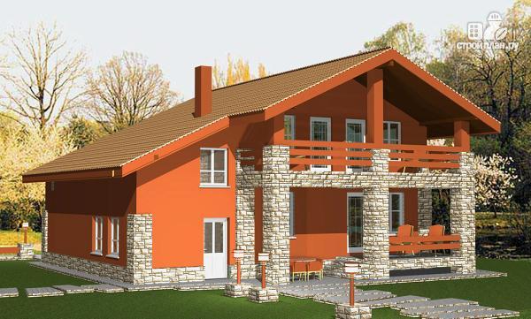 Фото 3: проект дом с пятью спальнями и двумя гостиными, верандой, сауной и навесом