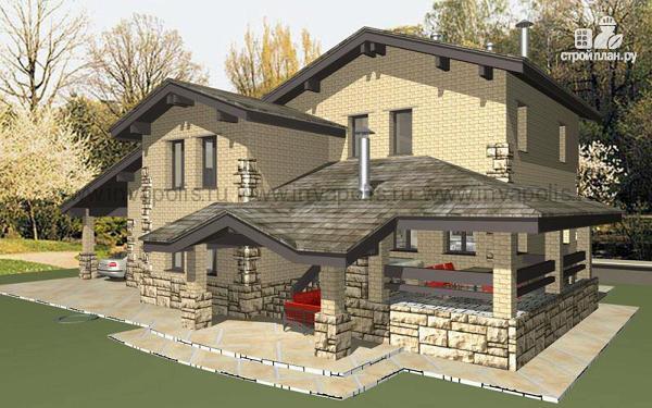 Фото 4: проект просторный дом с мансардой, цокольным этажом и террасой, гаражом