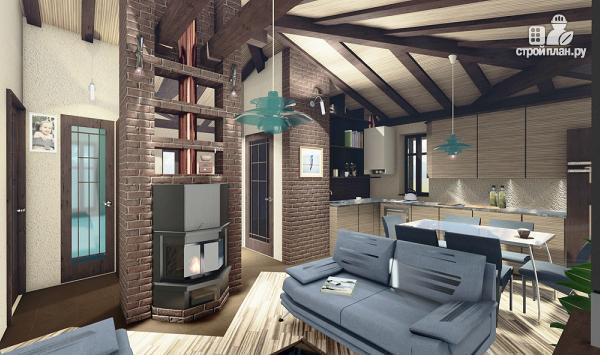 Фото 3: проект компактный одноэтажный дом 7 х 9 с тремя спальнями и верандой