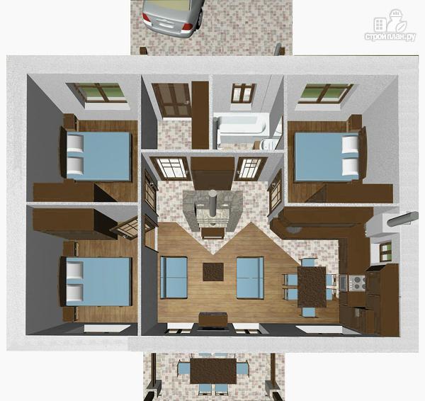 Фото 4: проект компактный одноэтажный дом 7 х 9 с тремя спальнями и верандой