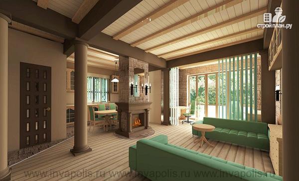Фото 4: проект одноэтажный удобный дом 12 на 12 метров с тремя спальнями и верандой