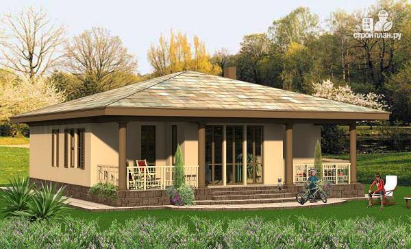 Фото 3: проект одноэтажный удобный дом 12 на 12 метров с тремя спальнями и верандой