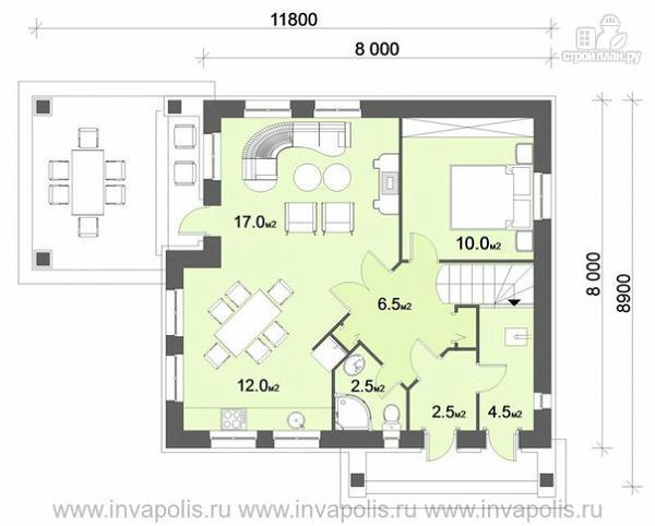 Фото 2: проект очень компактный комфортный дом с четырьмя спальнями