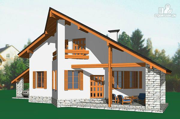 Фото: проект удобный стильный дом с треугольным эркером, с четырьмя спальнями