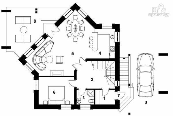 Фото 5: проект удобный стильный дом с треугольным эркером, с четырьмя спальнями